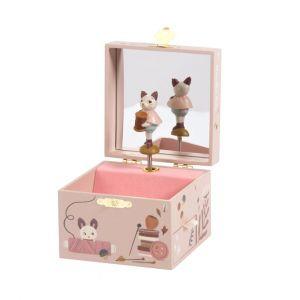 caja musical cofre rosa gato MoulinRoty