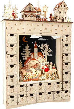 calendario adviento madera vintage