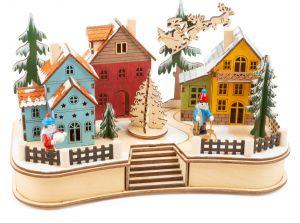 lampara pueblo navidad madera